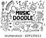 collection of music instruments ... | Shutterstock .eps vector #609135611