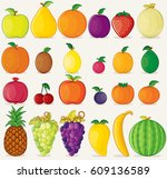 fruits icons flat colors on... | Shutterstock . vector #609136589