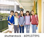 group of happy and smiling... | Shutterstock . vector #609137591