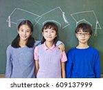 three asian elementary school... | Shutterstock . vector #609137999