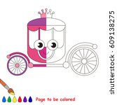 funny pink princess chariot ...   Shutterstock .eps vector #609138275
