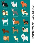 small dog breeds set with...   Shutterstock .eps vector #609138761