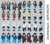 3d isometric businessman and...   Shutterstock . vector #609140195