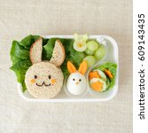 bunny rabbit lunch box  fun... | Shutterstock . vector #609143435