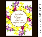 romantic invitation. wedding ... | Shutterstock .eps vector #609145019