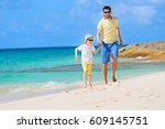 happy family of two  father and ... | Shutterstock . vector #609145751