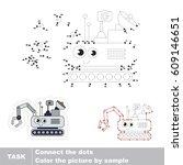 funny lunar rover. dot to dot... | Shutterstock .eps vector #609146651