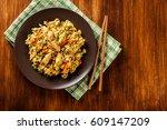 fried rice nasi goreng with... | Shutterstock . vector #609147209