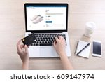 woman use ecommerce webshop for ... | Shutterstock . vector #609147974