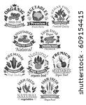 vegetables vector icons of farm ... | Shutterstock .eps vector #609154415