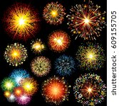 vector fireworks and explodes.... | Shutterstock . vector #609155705