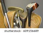 vintage golf clubs | Shutterstock . vector #609156689
