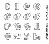 tire line icon set. included... | Shutterstock .eps vector #609158261