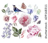 watercolor set with flowers of... | Shutterstock . vector #609168311