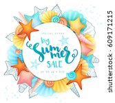 vector hand lettering summer... | Shutterstock .eps vector #609171215