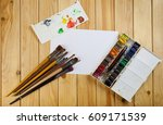 brushes paint and empty white  ... | Shutterstock . vector #609171539