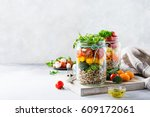 homemade salad in glass jar... | Shutterstock . vector #609172061