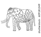 doodle elephant isolated on... | Shutterstock .eps vector #609181349