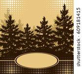 landscape  forest  spruce fir... | Shutterstock . vector #609181415