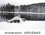 clear winter landscape with a... | Shutterstock . vector #609183665