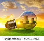 nuclear power plant in light... | Shutterstock . vector #609187961