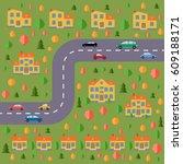 plan of village. landscape with ... | Shutterstock .eps vector #609188171