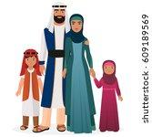 arabian family. arabian man and ... | Shutterstock . vector #609189569