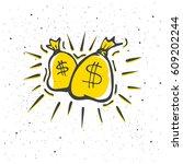 money bags logo. hand drawn... | Shutterstock .eps vector #609202244