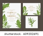 vintage wedding set with spring ... | Shutterstock .eps vector #609202691