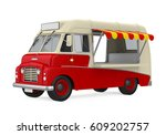 food truck isolated. 3d... | Shutterstock . vector #609202757