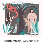 first people. vector... | Shutterstock .eps vector #609204419