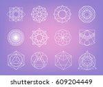 sacred geometry symbols... | Shutterstock .eps vector #609204449