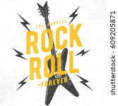 rock festival poster. rock and... | Shutterstock .eps vector #609205871