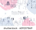 fashion cosmetics horizontal... | Shutterstock .eps vector #609207869