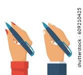 pen in hand women and man....   Shutterstock .eps vector #609210425
