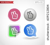 colored icon or button of peace ... | Shutterstock .eps vector #609212804