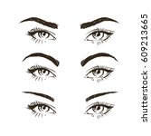 3 basic eyebrow shape types... | Shutterstock .eps vector #609213665