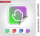 colored icon or button of hand... | Shutterstock .eps vector #609214904