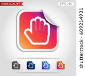 colored icon or button of hand... | Shutterstock .eps vector #609214931