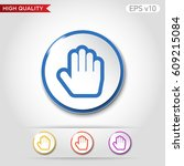 colored icon or button of hand... | Shutterstock .eps vector #609215084