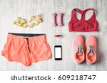 clothes and fitness accessories ...   Shutterstock . vector #609218747