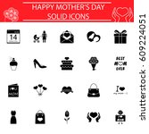 set of mother's day icons | Shutterstock .eps vector #609224051