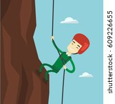 rock climber in protective... | Shutterstock .eps vector #609226655