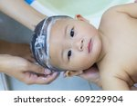 asian cute baby eight month... | Shutterstock . vector #609229904