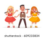 children's musical trio. a boy... | Shutterstock .eps vector #609233834