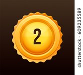 golden medal with numbers.... | Shutterstock .eps vector #609235589