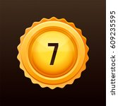 golden medal with numbers.... | Shutterstock .eps vector #609235595