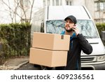 delivery man with cap and... | Shutterstock . vector #609236561