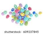 easter abstraction on a white... | Shutterstock . vector #609237845