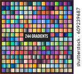 Set of 244 gradients. Color combinations ideas. Color swatches. Vector gradient background.
